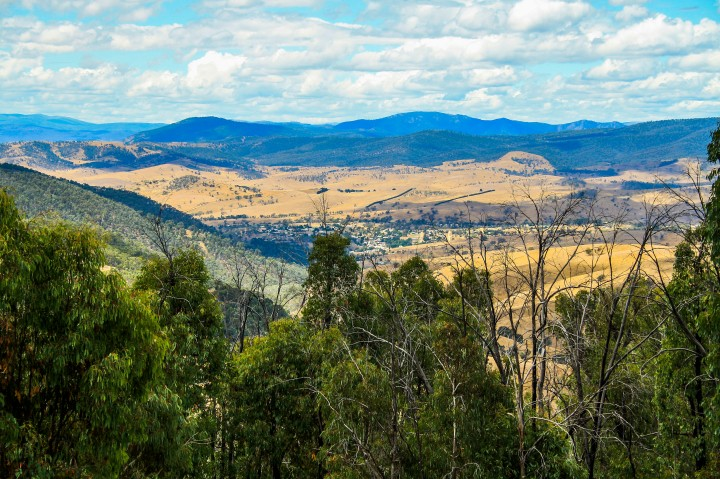 looking down over omeo township