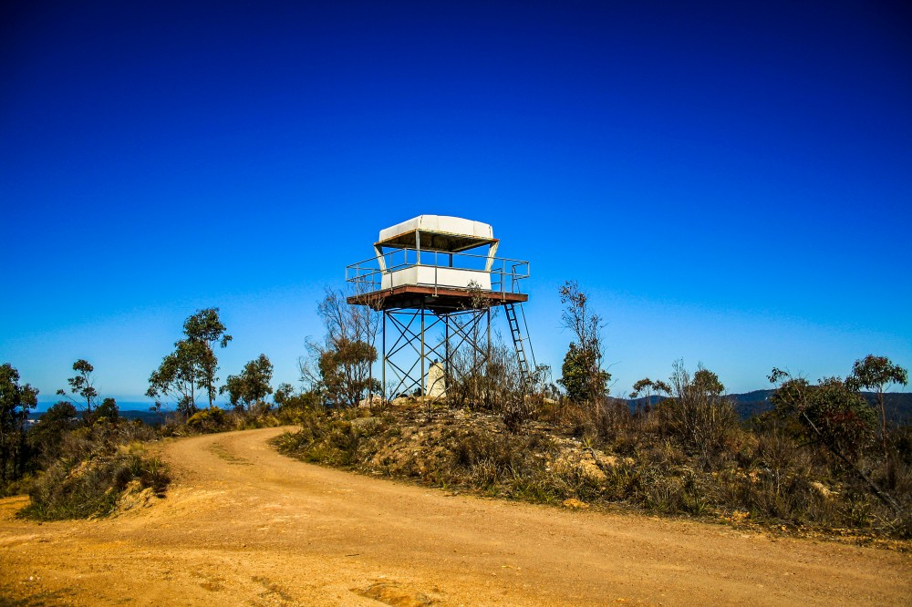 Remains of the forestry commission fire tower at Blue Knob Lookout