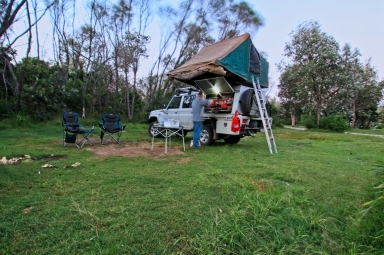 There is a nice grassy camping area at Kylie's Beach