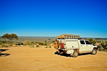 Taking in the vastness of the Nullarbor from a roadside lookout point