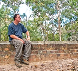Taking a rest along the Industrial Site Ruins Track at Newnes