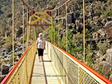 Sandra's mum crossing Cataract Gorge via the suspension bridge
