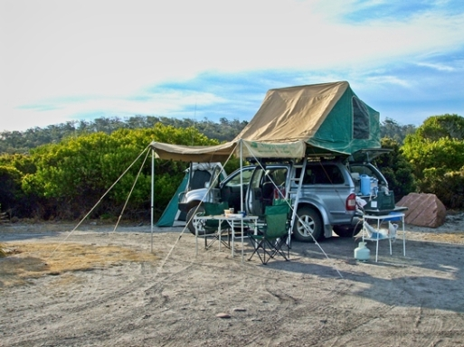 Our coastal camp at Friendly Beaches
