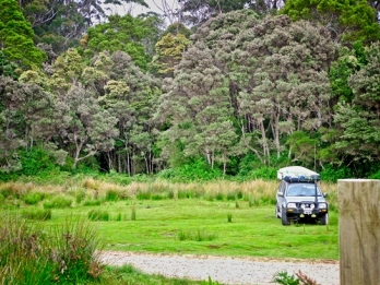 The lush grass of Cockle Bay is the perfect spot to pitch the tent for the night