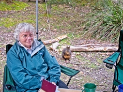 Sandra's mum with a camp visitor at Mount Field