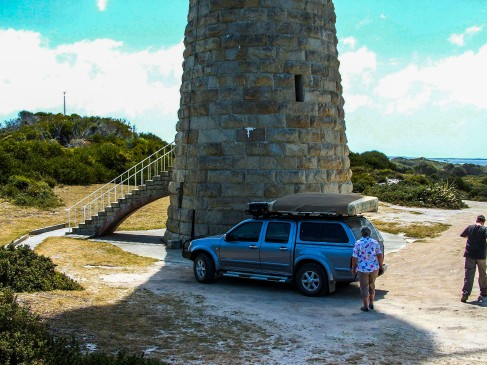 The sandstone Eddystone Point Lighthouse is a feature in Mount William National Park