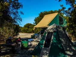 Our relaxed camp on the coast at Stumpy Bay, Mount William National Park