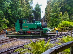 Changing the engine along the Wilderness Railway