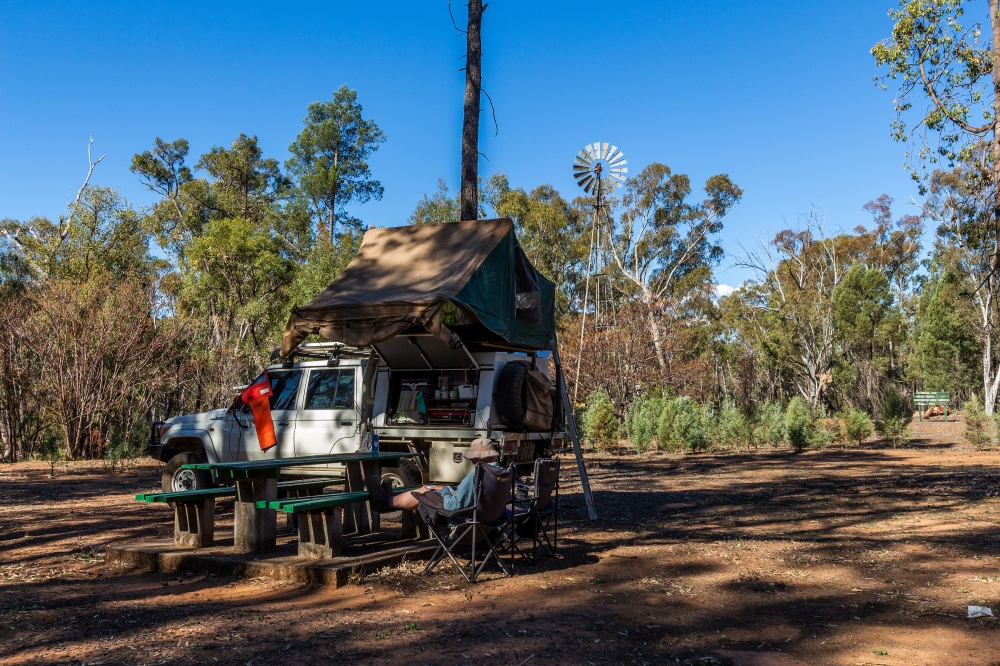 camping at Rocky Creek Mill, Pilliga State Forest